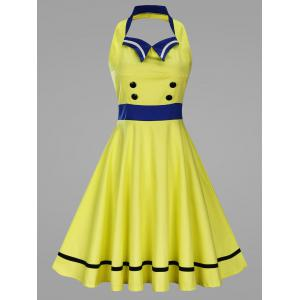 Flat Collar Embellished Plus Size Halter Vintage Swing Dress