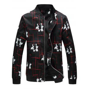 Zip Up Flowers Lines Printed Jacket
