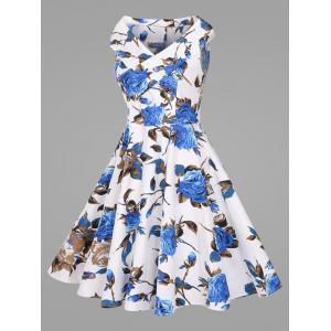 Sleeveless Plus Size Vintage Flower Dress -