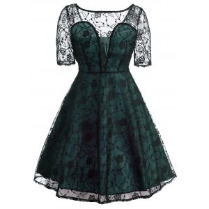 Vintage See Thru Lace Overlay Dress - Light Green - S