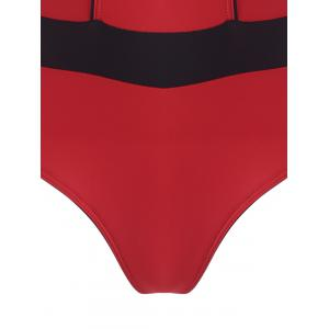 One Piece Zip Cut Out Sports Swimsuit - Rouge S
