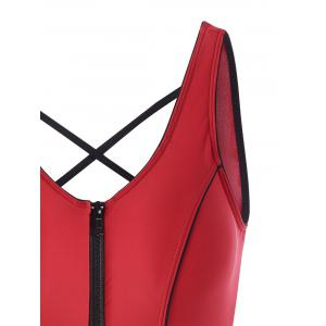 One Piece Zip Cut Out Sports Swimsuit - RED XL