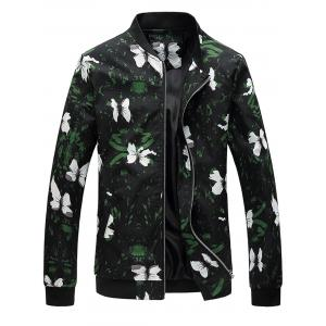 Stand Collar Flowers Printing Jacket
