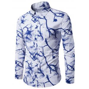 Long Sleeve Tie Dye Ink Painting Print Shirt