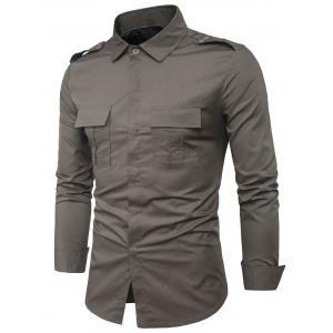 Epaulet Design Double Pockets Cover Placket Cargo Shirt