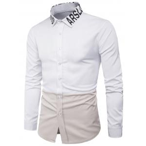 Long Sleeve Graphic Color Block Panel Shirt
