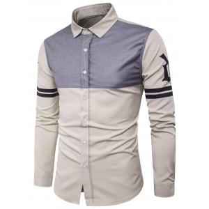 Long Sleeve Color Block Panel Stripe Graphic Shirt