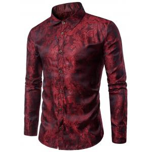 Long Sleeve Paisley Vintage Shirt - Wine Red - 2xl