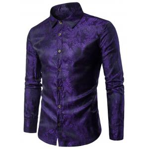 Long Sleeve Paisley Vintage Shirt - Purple - 2xl