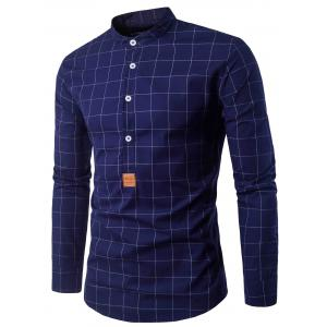 Long Sleeve PU Leather Applique Checked Shirt