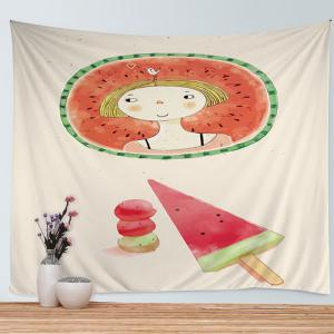Watermelon Girl Print Tapestry Wall Hanging Art Decoration - Colormix - W79 Inch * L59 Inch