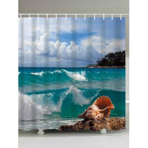 Conch Beach Print Waterproof Extra Long Shower Curtain - Lake Blue - W71 Inch * L79 Inch