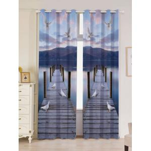 2 Panel Window Grommet Lake Scenic Blackout Curtain - Blue Gray - W53 Inch * L84.5 Inch