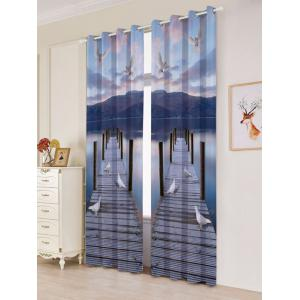 2 Panel Window Grommet Lake Scenic Blackout Curtain -