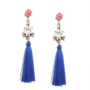 Faux Crystal Pearl Tassel Earrings - Blue