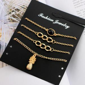 Pineapple Chain Charm Bracelet Set