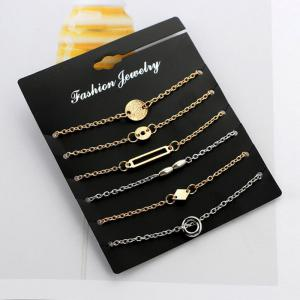 Geometric Circle Chain Bracelet Set - COLORMIX