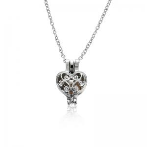 Faux Pearl Heart Cage Locket Necklace