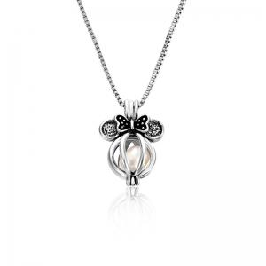 Faux Pearl Bows Cage Locket Necklace