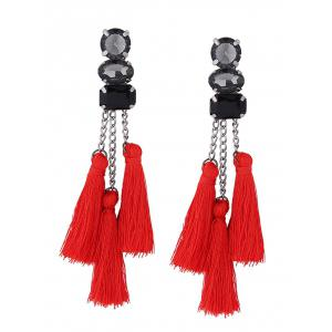 Rhinestone Chain Tassel Drop Earrings
