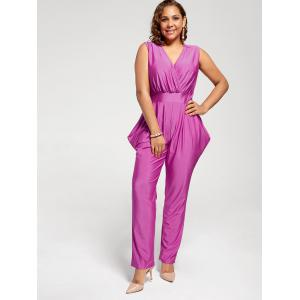 Sleeveless Harem Surplice Jumpsuit - PURPLISH RED L