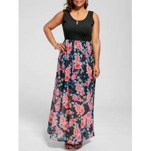 Sleeveless Floral A Line Plus Size Maxi Dress
