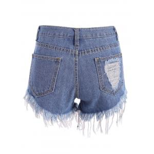 Distressed Cutoffs Denim Shorts - BLUE S