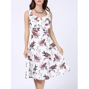 Floral Bird Print Sweetheart Neck Skater Dress