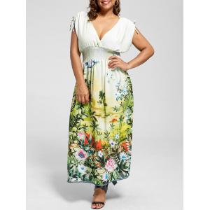Sleeveless Floral Chiffon Plus Size Maxi Dress