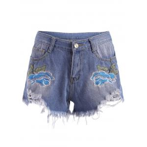 Embroidered Ripped Mini Denim Shorts - Blue - L