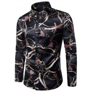 Long Sleeve 3D Chain and Belt Print Shirt - Black - 2xl