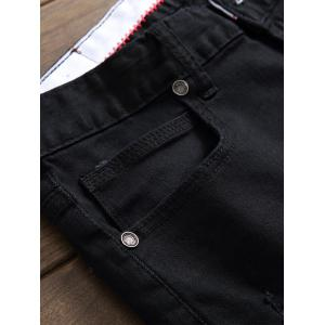Zip Fly Destroyed Casual Denim Pants - Noir 34