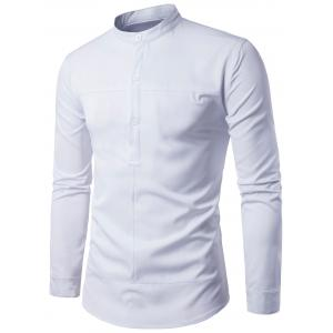 Half Buttons Stand Collar Long Sleeve Shirt