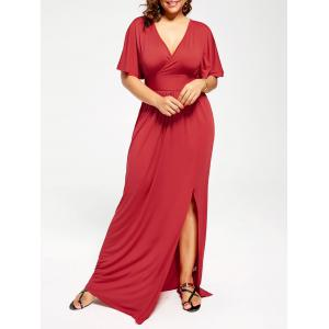 Plus Size Plunge Slit Maxi Empire Waist Formal Dress