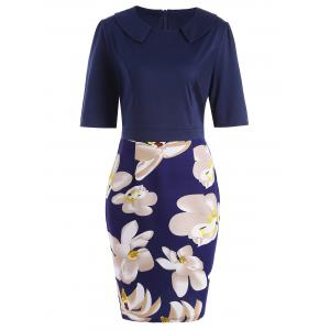 Fitted Knee Length Plus Size Floral Work Dress