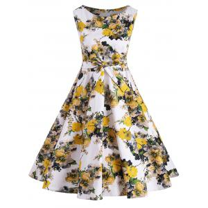 Sleeveless Fit and Flare Floral Plus Size Dress