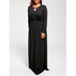 Keyhole Long Sleeve Plus Size Maxi Formal Dress