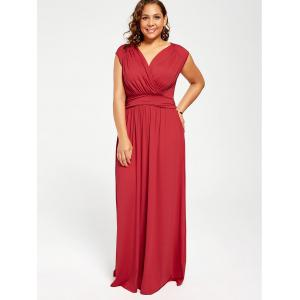 Red 3xl Cap Sleeve Plus Size Maxi Flowy Dress | RoseGal.com