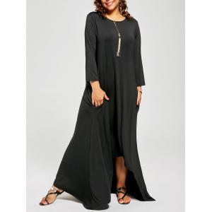 Plus Size High Low Asymmetric T-shirt Dress with Sleeves