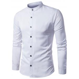 Panel Design Stand Collar Long Sleeve Shirt