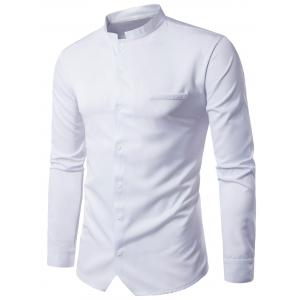 Edging Stand Collar Long Sleeve Shirt