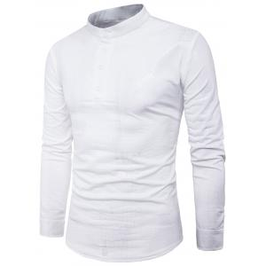 Long Sleeve Half Buttons Crocodile PU Leather Shirt - White - L