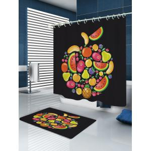 Cartoon Fruits Pattern Fabric Waterproof Bathroom Shower Curtain - BLACK W59 INCH * L71 INCH