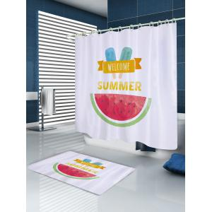 Watermelon Ice Cream Pattern Fabric Waterproof Bathroom Shower Curtain -