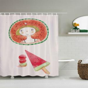 Watermelon Girl Pattern Fabric Waterproof Bathroom Shower Curtain -