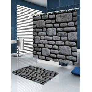 Stone Brick Wall Pattern Fabric Waterproof Bathroom Shower Curtain - DEEP GRAY W71 INCH * L79 INCH