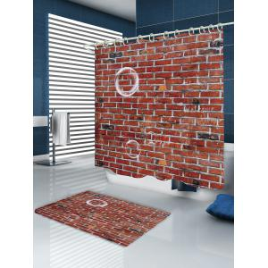 Brick Wall Pattern Fabric Waterproof Bathroom Shower Curtain -