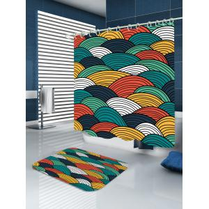 Waterproof Striped Sector Print Shower Curtain -