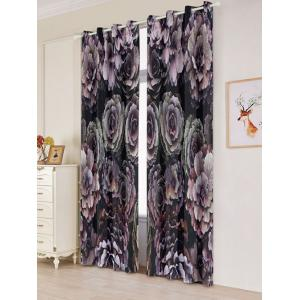2PCs Floral Print Blackout Window Curtains - COLORFUL W53 INCH * L84.5 INCH