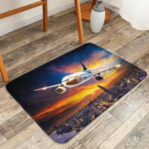 Rosy Clouds Plane Water Absorbent Bath Rug